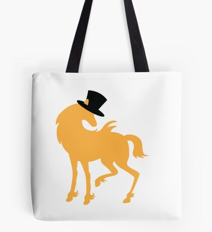 Am I a horse or a unicorn hiding? behind a top hat Tote Bag