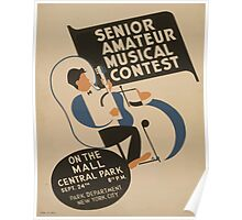 WPA United States Government Work Project Administration Poster 0895 Senior Amature Musical Contest Mall Central Park Poster