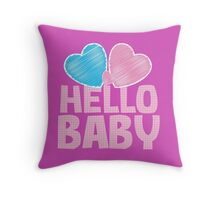 Hello Baby newborn baby greeting in pink Throw Pillow