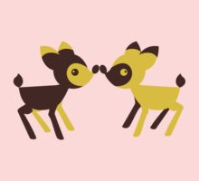 cute little kawaii deers touching noses Kids Clothes