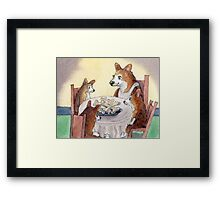 This Corgi mom was a stickler for table manners Framed Print