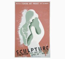 WPA United States Government Work Project Administration Poster 0253 Sculpture Exhibition Federal Art Project Illinois Kids Tee