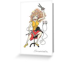 Hairdresser with Curly hair Greeting Card