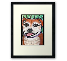 Gracie May Staffy Dog under the lime tree Framed Print