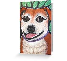 Gracie May Staffy Dog under the lime tree Greeting Card