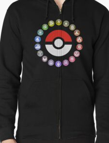 Pokemon Type Wheel Zipped Hoodie
