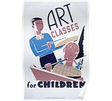WPA United States Government Work Project Administration Poster 0137 Art Classes for Children Poster