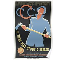 WPA United States Government Work Project Administration Poster 0013 A Young Man's Opportunity for Work Play Study Health Poster