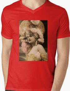 Victorian Lady in large hat (French) Mens V-Neck T-Shirt
