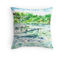 Boat @ Kettle Cove Throw Pillow