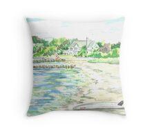 Orange Sailboat - New Silver Beach Throw Pillow