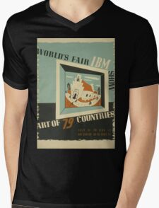 WPA United States Government Work Project Administration Poster 0742 World's Fair IBM Show Mens V-Neck T-Shirt