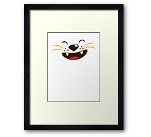 Cute kitty cat face smiling Framed Print