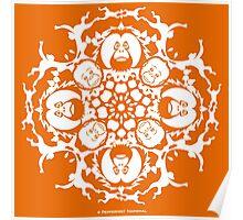 ORANGUTAN SNOWFLAKE ORANGE Poster