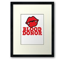 Blood donor with vampire lips Framed Print
