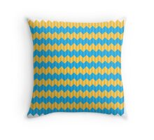 simple yellow and blue knit pattern Throw Pillow