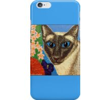 Siamese Cat With Bush Flowers iPhone Case/Skin