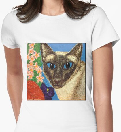 Siamese Cat With Bush Flowers Womens Fitted T-Shirt