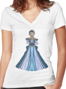 Winter Princess in Blue Women's Fitted V-Neck T-Shirt