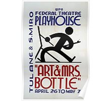 WPA United States Government Work Project Administration Poster 0344 Art and MRS Bottle Federal Theatre Playhouse Poster