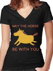 May The Horse Be With You - Cute Horse Lover T Shirt Women's Fitted V-Neck T-Shirt
