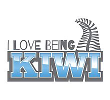 I LOVE BEING KIWI with silver fern Photographic Print
