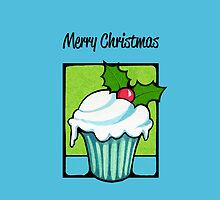 Christmas Holly Cupcake blue by Mariana Musa