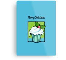 Christmas Holly Cupcake blue Metal Print