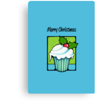 Christmas Holly Cupcake blue Canvas Print