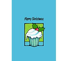 Christmas Holly Cupcake blue Photographic Print