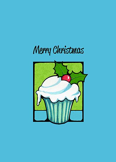 Christmas Holly Cupcake blue by Mariana Musa