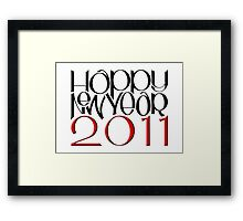 Happy New Year 2011 red black Framed Print