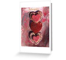 February Hearts Greeting Card