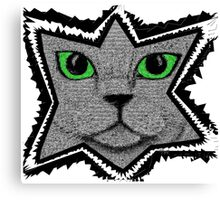 Peeking Pixel Cat Canvas Print