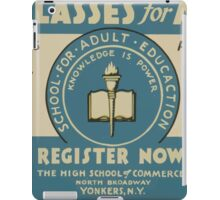 WPA United States Government Work Project Administration Poster 0594 Free Classes For Adults iPad Case/Skin
