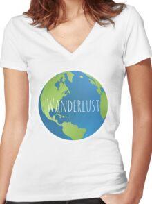 Wanderlust Globe Women's Fitted V-Neck T-Shirt