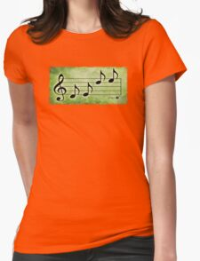 KEYS - Words in Music Green Background - V-Note Creations Womens Fitted T-Shirt