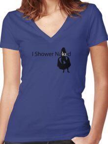 I shower naked Women's Fitted V-Neck T-Shirt
