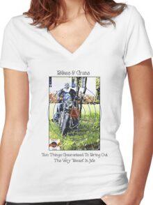 Bikes & Guns Women's Fitted V-Neck T-Shirt