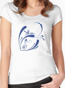 Cool Fish Grunge Twirls Women's Fitted Scoop T-Shirt