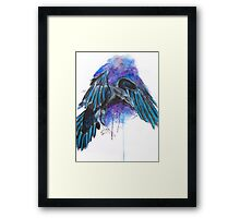 Raven of the Night Watercolour Illustration Painting Framed Print