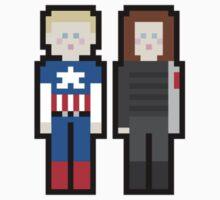 Steve and Bucky pixel art Kids Clothes