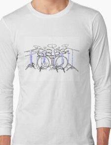 Drum Kit: Marker Drawing Long Sleeve T-Shirt