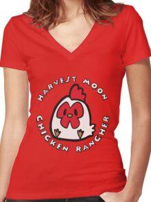 HARVEST MOON: CHICKEN RANCHER Women's Fitted V-Neck T-Shirt