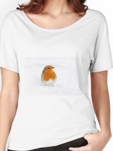 Robin braving the morning snow, The Rower, County Kilkenny, Ireland Women's Relaxed Fit T-Shirt