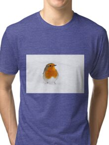 Robin braving the morning snow, The Rower, County Kilkenny, Ireland Tri-blend T-Shirt