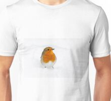 Robin braving the morning snow, The Rower, County Kilkenny, Ireland Unisex T-Shirt