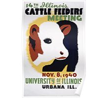 WPA United States Government Work Project Administration Poster 0172 Cattle Feeders Meeting Illinois 1940 2 Poster