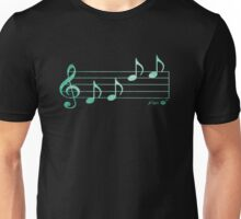 KEYS - Words in Music - Teal Green-  V-Note Creations Unisex T-Shirt