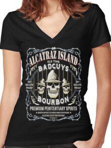 Alcatraz Island BadGuys Bourbon Label Women's Fitted V-Neck T-Shirt